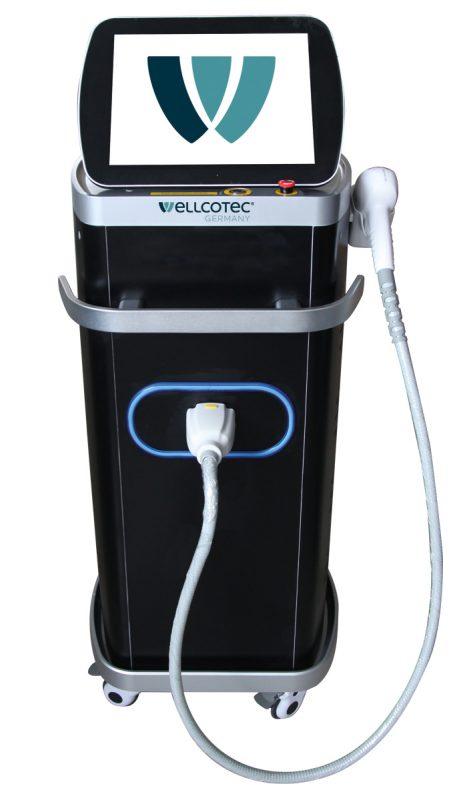 SHR Diodenlaser stationär von WELLCOTEC Germany zur dauerhaften Haarentfernung mit 3 Lichtwellenlängen und SHR Glide Technik - SHR DIODENLASER 8900 3WL Black