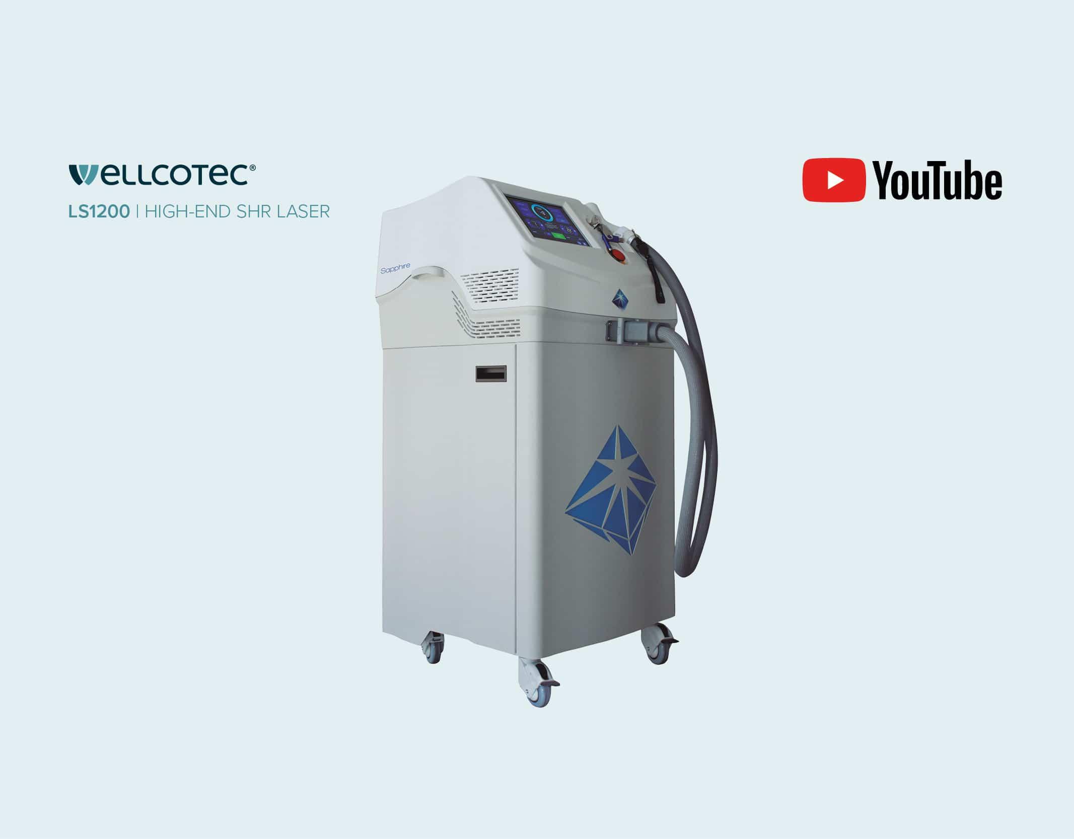 WELLCOTEC SHR Laser - Diodenlaser Haarentfernung - Dauerhafte Haarentfernung - SAPPHIRE LS1200 - Youtube Thumbnail